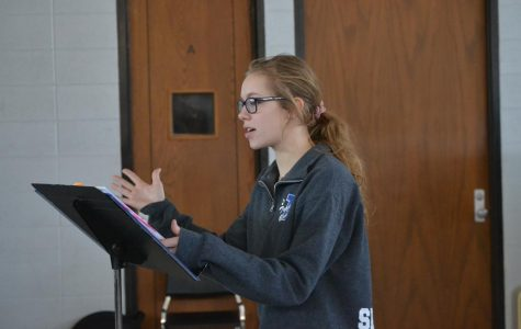 junior Jada Siebeneck rehearses on March 2020 for her role as